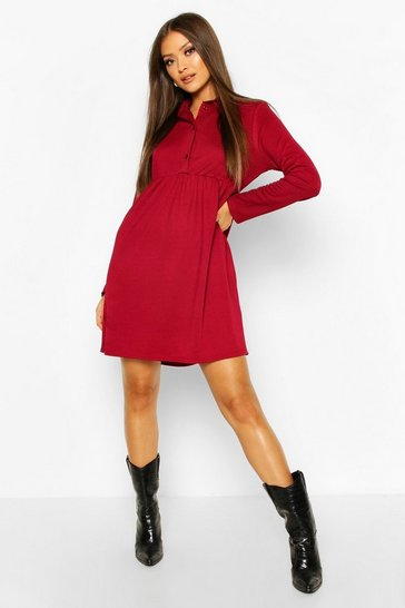 Wine Button Detail Smock Dress