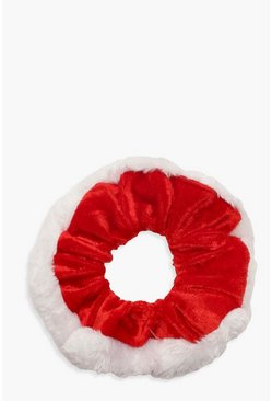 Dam Red Christmas Faux Fur Trim Scrunchie