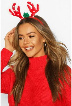 Dam Red Christmas Reindeer Headband