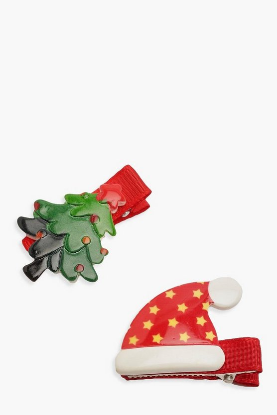 2 Pack Christmas Hair Slides