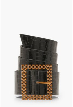 Croc PU Square Detail Buckle Belt, Black