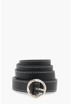 Black Contrast Stitch Bamboo Buckle Belt