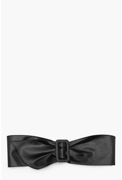 Faux Leather Waist Buckle Belt, Black