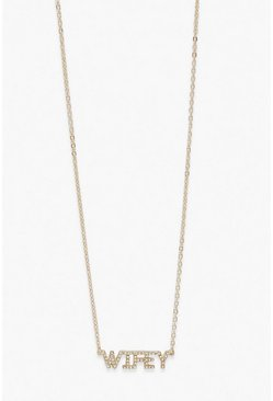 Wifey Diamante Necklace, Gold