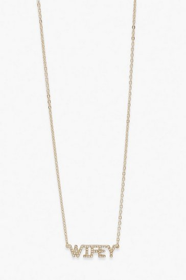 Gold Wifey Diamante Necklace
