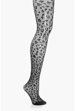 Womens Black Leopard Jacquard Tights