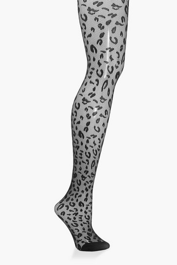 Black Leopard Jacquard Tights