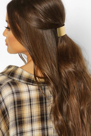 Womens Brushed Gold & Chain Hair Clip Pack