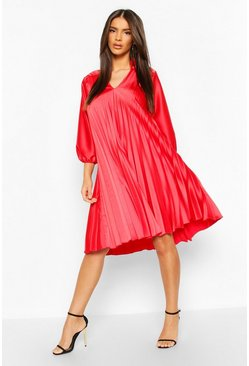 V Neck Pleated Midi Dress, Red