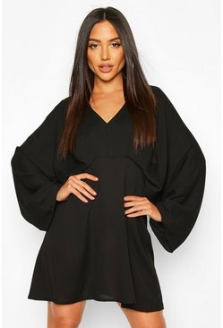 Black Extreme Kimono Sleeve Skater Dress