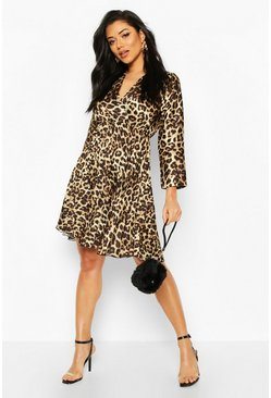 Leopard Print Pleated Skater Dress, Brown, DAMEN