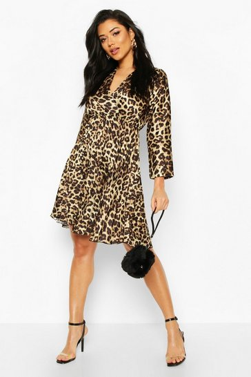 Womens Brown Leopard Print Pleated Skater Dress