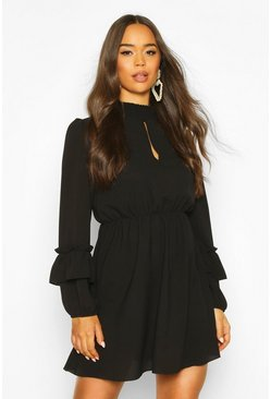 Shirred Neck Skater Dress, Black