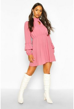 Shirred Neck Skater Dress, Rose, Donna