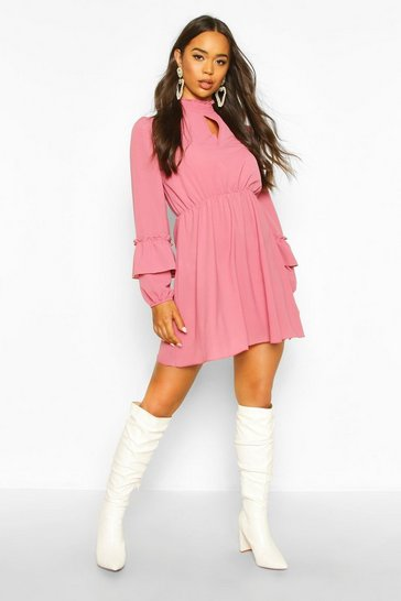 Womens Rose Shirred Neck Skater Dress