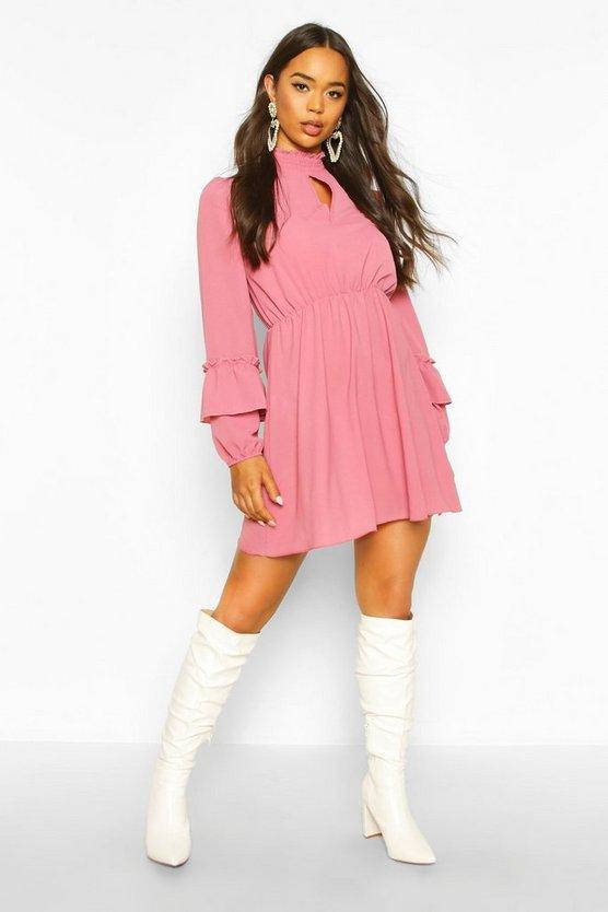 Shirred Neck Skater Dress