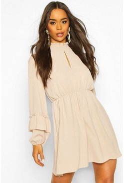 Shirred Neck Skater Dress, Stone