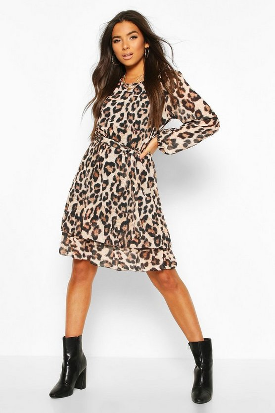 Brown Leopard Print Belted Ruffle Skater Dress