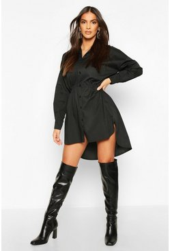 Drawstring Shirt Dress, Black
