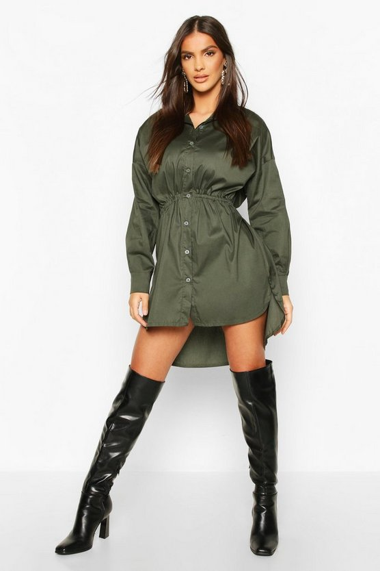 Womens Khaki Drawstring Shirt Dress