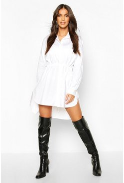 Womens White Drawstring Shirt Dress