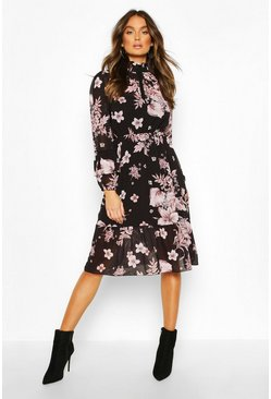 Floral Print Ruffle Neck Midi Dress, Black