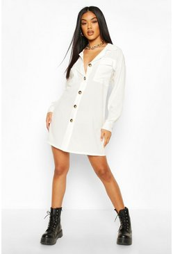 White Oversized Pocket Shirt Dress