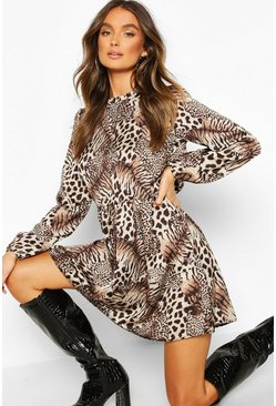 Mixed Animal Print Ruffle Neck Smock Dress, Brown, Donna