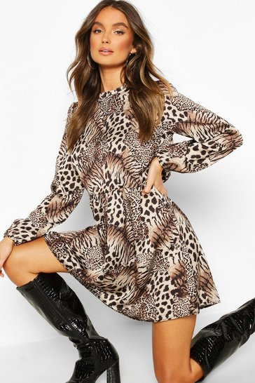 Womens Brown Mixed Animal Print Ruffle Neck Smock Dress