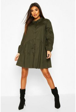 Khaki Ruffle Neck Shirt Smock Dress