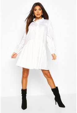 White Ruffle Neck Shirt Smock Dress