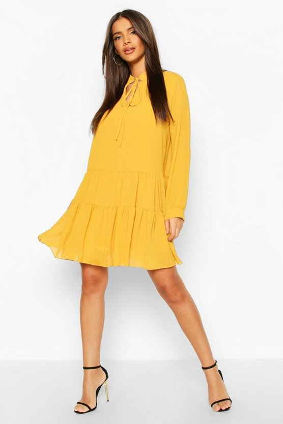 Womens Mustard Tie Detail Smock Dress