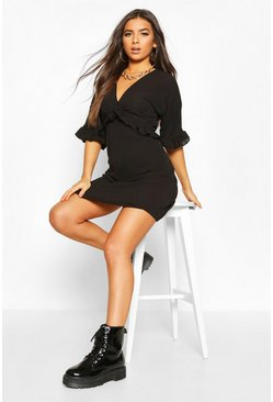 Ruffle Smock Dress, Black, FEMMES