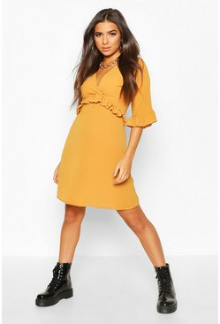 Womens Mustard Ruffle Smock Dress