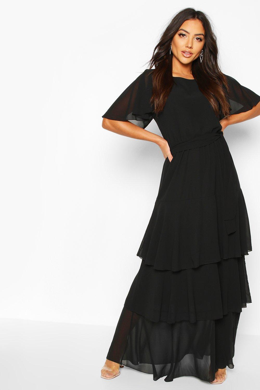 1900 Edwardian Dresses, 1910s Dresses Womens Flared Sleeve Tiered Ruffle Maxi Dress - black - 14 $46.00 AT vintagedancer.com