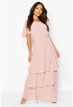 Blush Flare Sleeve Tiered Ruffle Maxi Bridesmaid Dress