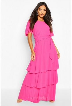 Magenta Flare Sleeve Tiered Ruffle Maxi Bridesmaid Dress
