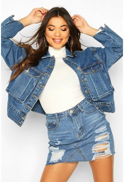 Utility Pocket Oversized Denim Jacket, Mid blue