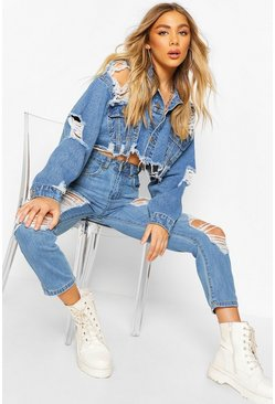 Mid blue Distressed Cropped Denim Jacket