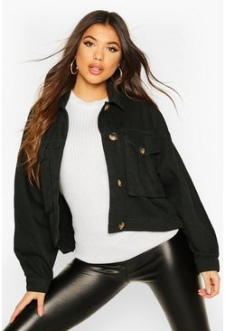 Black Mock Horn Button Boxy Oversized Denim Jacket