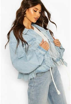 Ruffle Hem Rope Detail Denim Jacket, Light blue