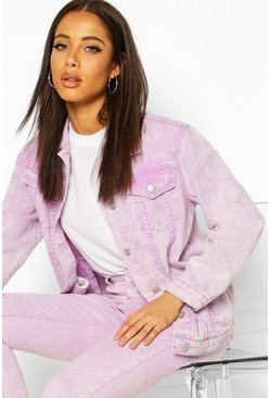 Acid Wash Oversized Denim Jacket, Lilac