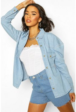 Light blue Oversize skjortjacka i denim med knappar i hornimitation
