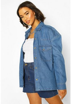 Oversized Mock Horn Denim Shirt Shacket, Mid blue