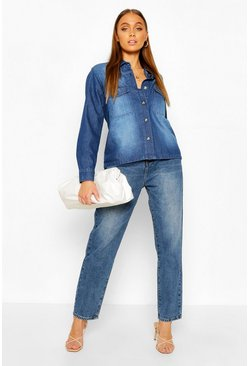 Oversized Mock Horn Button Denim Shirt, Mid blue