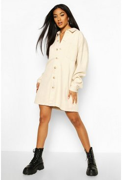 Longline Shirt Dress, Ecru