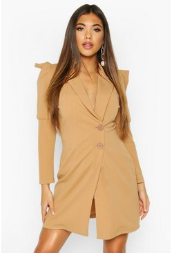 Extreme Puff Sleeve Wrap Blazer Dress, Camel, ЖЕНСКОЕ