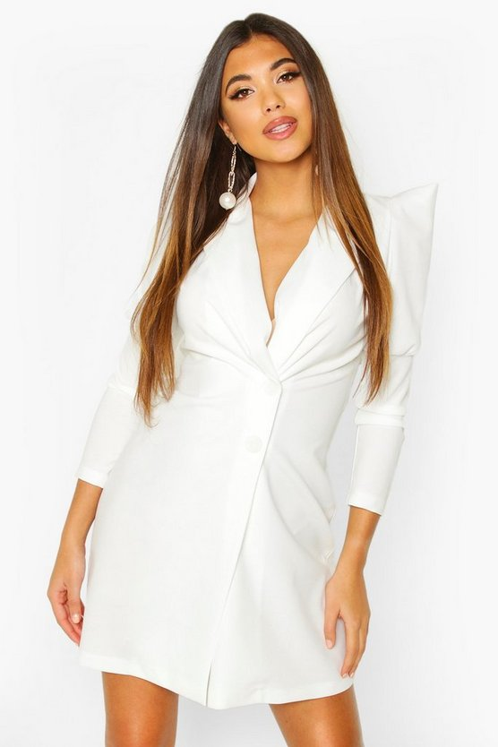 Womens White Extreme Puff Sleeve Wrap Blazer Dress