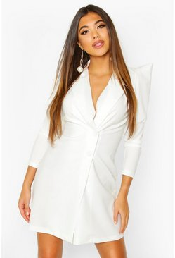 Extreme Puff Sleeve Wrap Blazer Dress, White, FEMMES