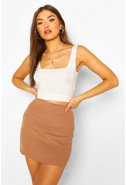 Soft Knit Square Neck Crop Knitted Top, Cream